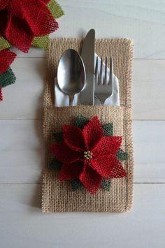Sackleinen Utensil / Silberbesteck Halter mit Weihnachtsstern Blume / Weihnachten Holiday Utensilien Halter / Weihnachtstisch Dekor / Weihnachten Dinning  – maudeous1