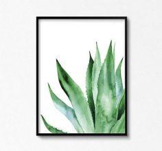 Agave Kunstwerk. Agave Pflanze. Aquarell Pflanzen. Blätter Kunst. Agave-Blätter Plakat. Flora Kunst. Tropische Poster.  – jannigilli