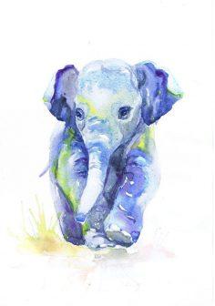 Baby-Elefant-Kunst-Aquarell-Malerei Baby-Kindertagesstätte durch ValrArt  – vaclavzahradnik