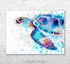 Meeresschildkröten-Aquarelldruck von Slaveika Aladjova, Kunst, Tier, Illustration, Seekunst, Seelebenkunst, Wohnkultur, Wandkunst  – amanda7231