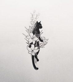 """givememoneyfortattoos: """"Katze in einem Blumenstrauß. Tätowierer: Doy """"  – DelaneyJD"""
