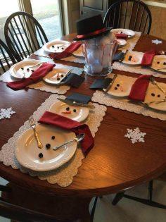 DIY Tischdeko Ideen zu Weihnachten, Teller als Schneemänner gestalten, Schneemann auf dem Tisch  – daisydukes16940
