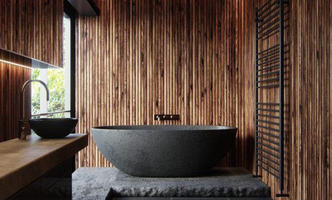 badezimmer thema natur schwarz und holz badewanne schiefer ...